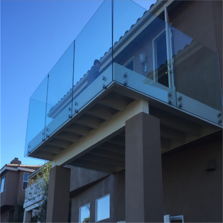 Modern Balcony Button Glass Railing and Standoff Glass Railing Side Mounted Glass Railing