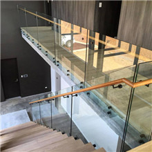 Standoff Glass Railing Of Staircase With Side Handrail