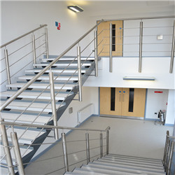 Contemporary Staircase Steel Rod Bar Railing with Stainless Steel Handrail