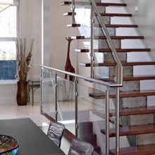 Indoor tempered glass stainless steel post modern design stair railing