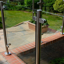 Topless glass balcony railing with stainless steel railing posts