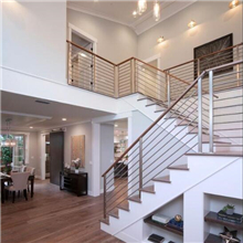 Interior wood handrail with carbon steel metal solid rod bar balustrade PR-R03