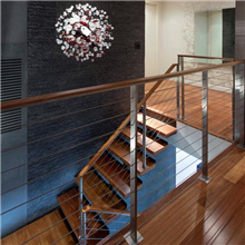 Indoor Stairwell Cable Railing Use Stainless Steel Square Post Design