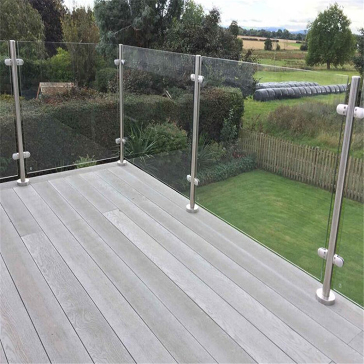 Stainless Steel Balustrade Glass Post Balcony Glass Railing For Deck