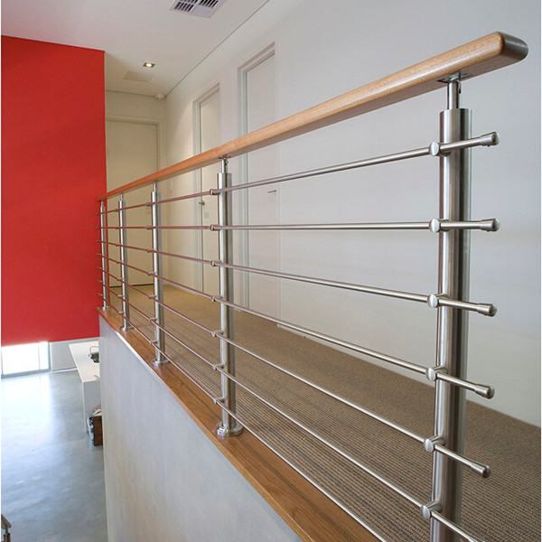 Indoor different design wood handrail with stainless steel ...
